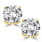 Prong Set Stud Earrings with Synthetic Round Cut Diamond by Diamond Essence set in 14K Solid Yellow Gold