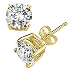 Prong Set Stud Earrings with Synthetic Round Cut Diamond by Diamond Essence set in 14K Yellow Gold - 6 Cts.t.w.