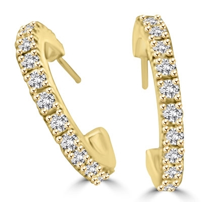 Sparkling Half hoop earrings with Diamond essence Round Brilliant stones set in 14k Solid Yellow Gold, 3.6 Cts.T.W.