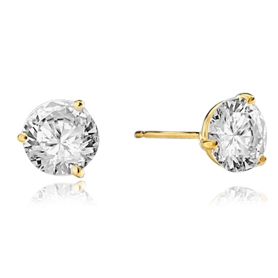 Pair of Studs in three prongs Martini Setting, Round Diamond Essence in each stud. 4.0 Cts T.W. set in 14K Solid Yellow Gold.