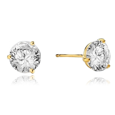 Pair of Studs in three prongs Martini Setting, Round Diamond Essence in each stud. 6.0 Cts T.W. set in 14K Solid Yellow Gold.