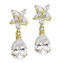 Pear,marquise cut stone-Gold drop earrings