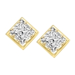 Classic princess cut stones earring in Solid Gold