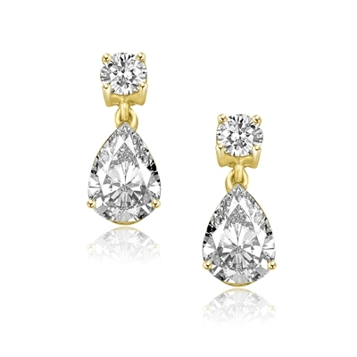 Pear cut & round stone solid gold drop earrings