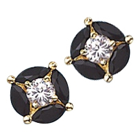 14K Gold black onyx & round stone earrings.