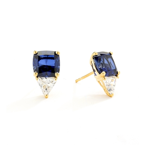 14K Solid Gold Stud earring in cushion cut sapphire stone.