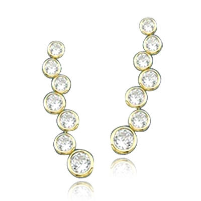 Bezel setting round stone in solid gold earrings