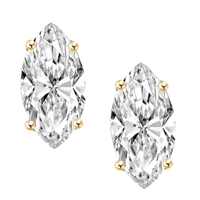 0.5 ct Marquise Studs earrings in Solid Gold