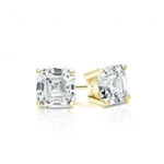 Prong Set Stud Earrings with Artificial Asscher Cut Diamond by Diamond Essence set in 14K Solid Yellow Gold 6 Cts.t.w.