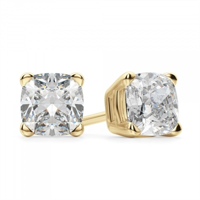 1 carat Diamond Essence cushion cut in 14k yellow gold