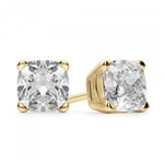 Prong Set Stud Earrings with Simulated Cushion Cut Diamond by Diamond Essence set in 14K Solid Yellow Gold 5 Cts.t.w.