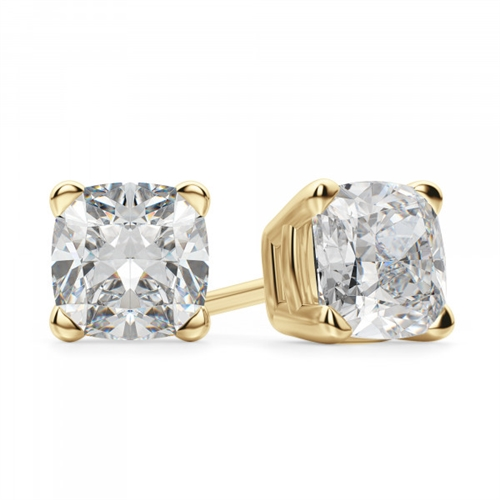 Prong Set Stud Earrings with Simulated Cushion Cut Diamond by Diamond Essence set in 14K Solid Yellow Gold 6 Cts.t.w.
