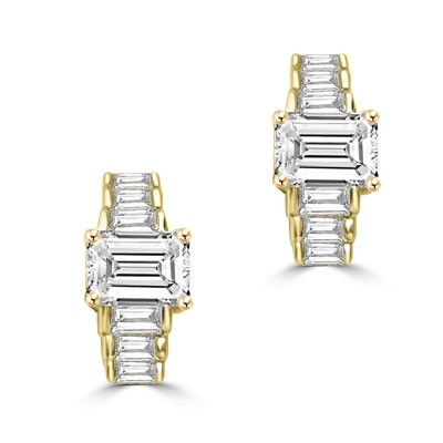 Glowing baguettes form this unique design earrings. 3 Cts T.W. In 14k Solid Yellow Gold.