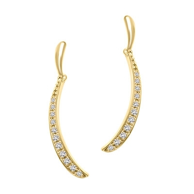 Delicate dangler earrings with round melee stones shining brilliantly in a curved design. 1.5 Cts. T.W. In 14k Solid Yellow Gold.