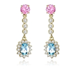 1.5 ct oval Blue Topaz essence earring in Yellow gold