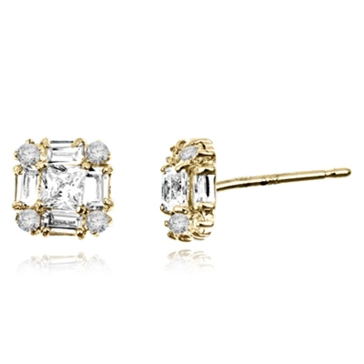 Little beauty. Diamond Essence traditional baguettes, princess cut and round brilliants set in artistic way in 14k Solid Yellow Gold, 2.0 cts.t.w.