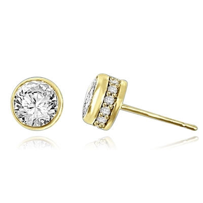 Traditional studs with a twist on the bezel set that shows small accents sideways too! Confess it...you always wanted this! 2.20 Cts. T.W. in 14k Solid Yellow Gold.