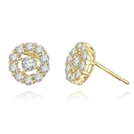Diamond Essence round brilliant melee set in floral design with 0.25 ct. center, in 14k Solid Yellow Gold.