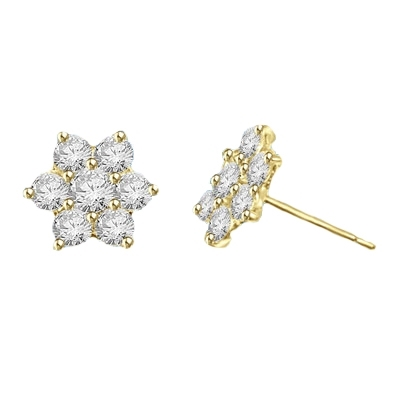Perfect Holiday and Mother's Day Gift. Traditional flower set Earring. 3.0 Cts.T.W. in 14k Solid Yellow Gold.