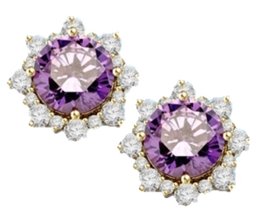 Designer Earrings with Round Amethyst Essence in center Surrounded by Round Brilliant Diamond Essence and Melee. 9.0 Cts. T.W. set in 14K solid Yellow Gold.