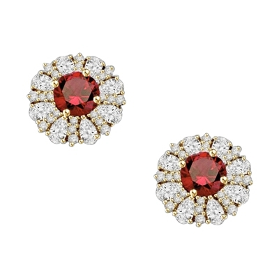 Diamond and Ruby Earring - 2.0 cts. Round Ruby Essence in Center surrounded by Pear Cut Diamond Essence and Melee. 5.5 Cts. T.W. set in 14K Solid Yellow Gold.