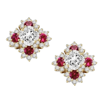 Designer Earrings with Asscher cut Diamond Essence in center surrounded by Floral Designs created with Round Ruby Essence and Melee. 6.0 Cts. T.W. set in 14K Solid Yellow Gold.