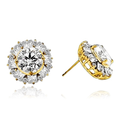 Designer Earrings With Round Brilliant Diamond essence in center surrounded by alternately set Princess  and melee. 14.5 Cts T.W. set in 14K Solid Yellow Gold.