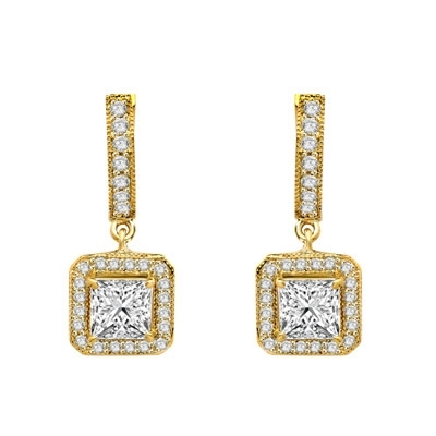 Designer Hoop Earrings with Princess Diamond Essence centerpiece, surrounded by Round Brilliant Melee. 2.25 Cts. T.W. set in 14K solid Yellow Gold.