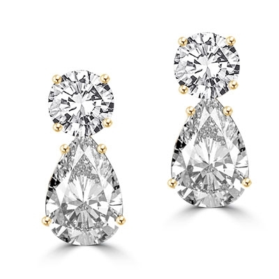 Best Selling Tear Drop Diamond Essence Earrings - White Brilliant Round Stone is 2 Ct and White Brilliant Pear Stone is 5 Ct. A Brilliant Sparkle of 14 Cts. T.W. for the pair of earrings!