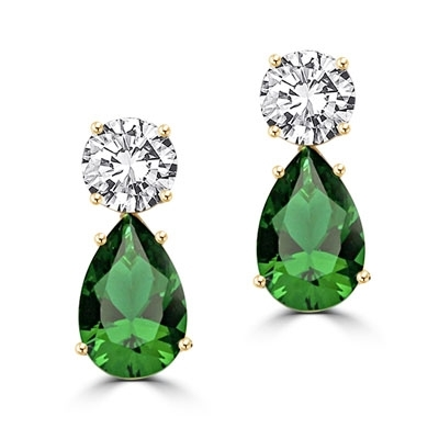 ​Best Selling Tear Drop Diamond Essence Earrings - White Brilliant Round Stone is 2 Ct and Emerald Pear Stone is 5 Ct. A Brilliant Sparkle of 14 Cts. T.W. for the pair of earrings! In 14k Solid Yellow Gold.