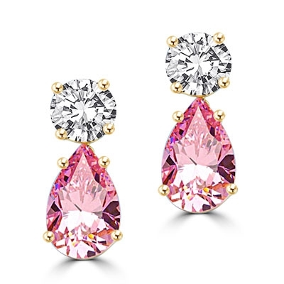 Best Selling Tear Drop Diamond Essence Earrings - White Brilliant Round Stone is 2 Ct and Pink Essence Pear Stone is 5 Ct. A Brilliant Sparkle of 14 Cts. T.W. for the pair of earrings! In 14K Solid Yellow Gold.