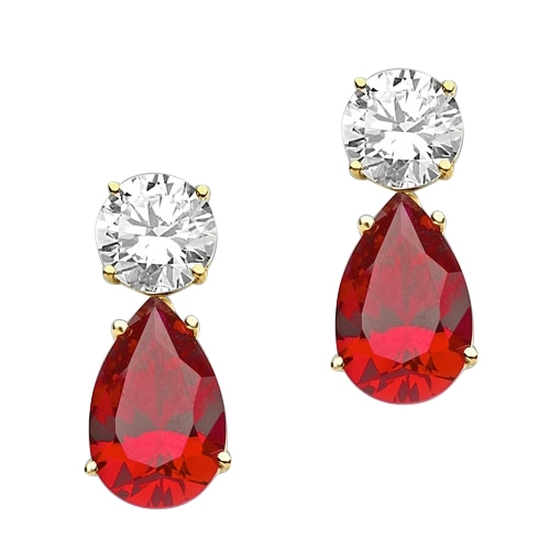 Prong Set Tear Drop Earrings with Artificial Pear Shape Ruby and Round Brilliant Diamonds by Diamond Essence set in 14K Yellow Gold
