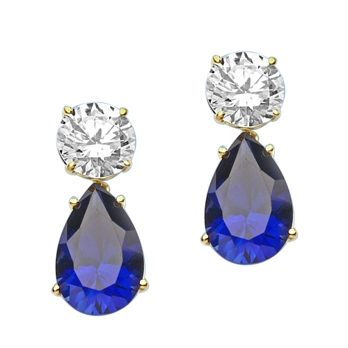 Diamond Essence Earrings, 5.0 Cts. each Pear cut Sapphire Essence dropping off from 2.0 Cts. each Round Diamond Essence Studs, 14.0 Cts. T.W. set in 14K Solid Yellow Gold.