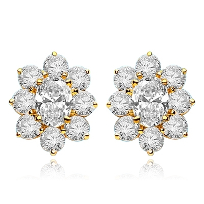 Flower Cluster - Each Earring with 1.0 Cts. Oval Center surrounded by Round Diamond Essence, 4.0 Cts. T.W. set in 14k  Solid Yellow Gold.