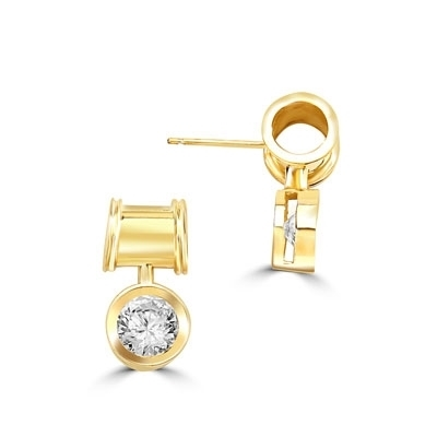 Unique Bezel set drop earring with 2 Cts. T.W. Round Diamond Essence, in 14k Solid Yellow Gold.