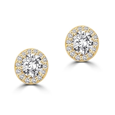 Mini marvelous pair of six-prong set designer earrings with 2.25 Cts. each simulated oval cut center Diamond with round brilliant melee by Diamond Essence set in 14K solid yellow gold. 5.50 Cts.t.w.