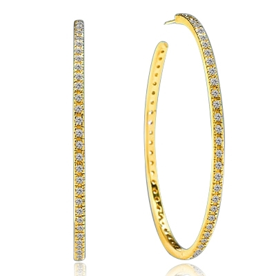 Sparkling Circle - 1.75 '' Extra large hoop earrings, Diamond Essence round melee set in 14K Solid Yellow Gold. 1.50 Cts. T. W.