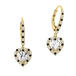 Diamond Essence leverback earrings, 1.0 Ct. each, Heart shape Diamond Essence surrounded by alternately set Onyx and Diamond Essence Melee, which flows on leverback also for additional sparkle. 4.0 Cts. T.W. set in 14K Solid Yellow Gold.