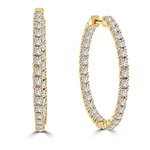 In and Out Hop Earrings with Round Brilliant Diamond Essence Stones, 3.25 cts.t.w. in Gold Plated Sterling Silver.