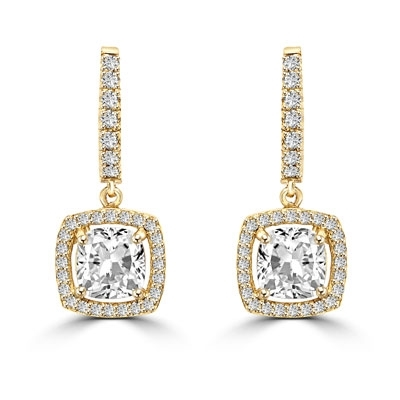 Diamond Essence Leverback Earrings with 1.0 ct. Cushion cut Round Brilliant Melee, 2.50 cts.t.w. in 14K Solid Gold.