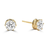 Basket Set Stud Earrings with Artificial Round Diamond by Diamond Essence set in 14K Solid Yellow Gold