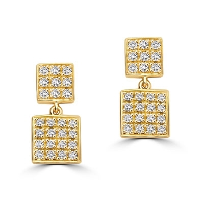 Square double dangle earrings set with round accents on both drops. 1.5 Cts. T.W. In 14k Solid Yellow Gold.