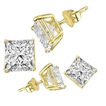 Square cut stone yellow gold earrings