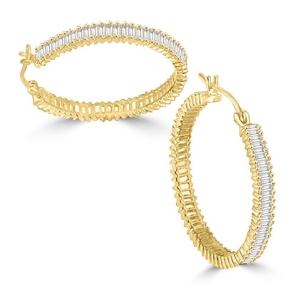 "Diamond Essence Hoop earrings, covered with rich gleam of baguettes set in 14K Solid Gold. 11cts.t.w., 1 1/4"" diameter."