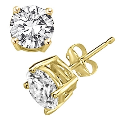 wh p white diamond earrings gold w ct round stud diamonds carat