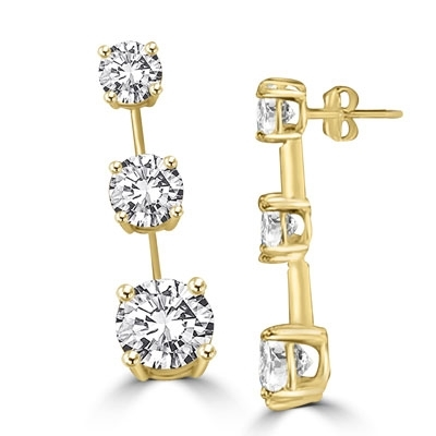 Round diamond bar create stunning drop earrrings