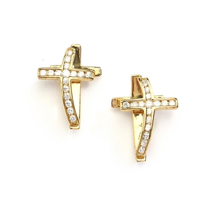 Wondrous Cross Earrings in 14K Solid Gold