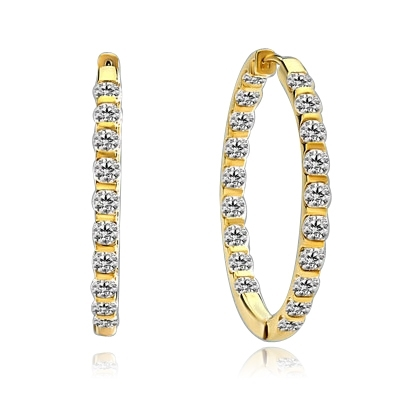 Large Inside Out Hoop Earring  displaying an exquisitely channel press set array of Diamond Essence Melee Glittering at 1.5 Inch Diameter 3 Cts. T.W set in 14K Solid Yellow Gold.