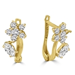 Diamond Essence Delicate Flower Leaf Design Earrings with Round Brilliant and Marquise Melee, 1.50 Cts.T.W. in 14K Solid Yellow Gold.
