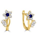 Diamond Essence Delicate Flower Leaf Design Earrings with Round and Marquise Melee, 1.50 Cts.T.W. in 14K Solid Yellow Gold.